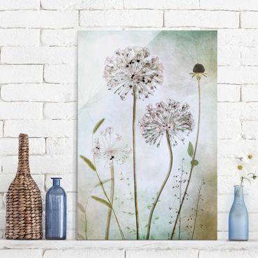 Quadro in vetro - fiori Allium a pastello - Verticale 2:3