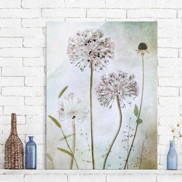 Quadro in vetro - fiori Allium a pastello - Verticale 3:4