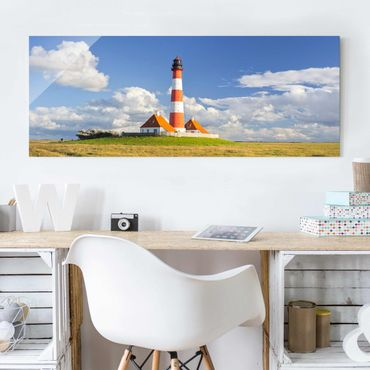 Quadro in vetro - Lighthouse in Schleswig-Holstein - Panoramico