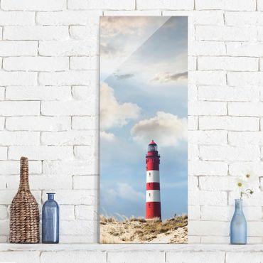 Quadro in vetro - Lighthouse in the dunes - Pannello