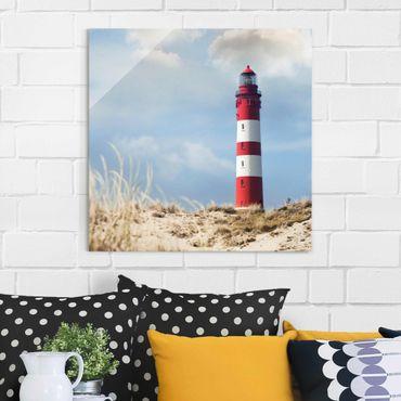 Quadro in vetro - Lighthouse in the dunes - Quadrato 1:1