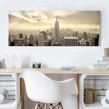 Quadro in vetro - Manhattan Dawn - Panoramico