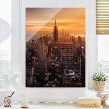 Quadro in vetro - Manhattan Skyline Evening - Verticale 3:4