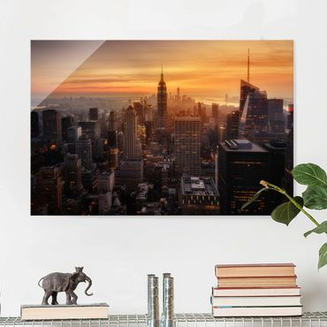 Quadro in vetro - Manhattan Skyline Evening - Orizzontale 3:2