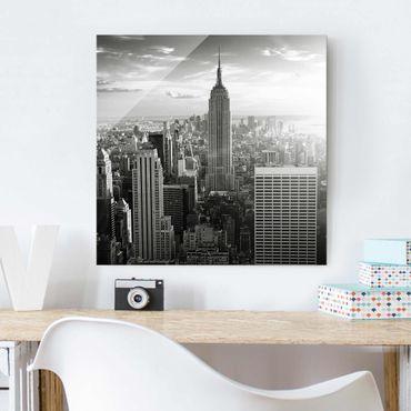 Quadro in vetro - Manhattan Skyline - Quadrato 1:1