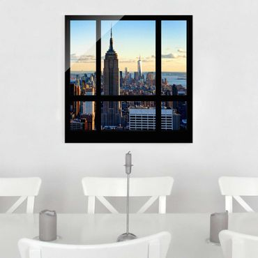Quadro in vetro - New York window overlooking the Empire State Building - Quadrato 1:1