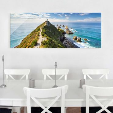 Quadro in vetro - Nugget Point Lighthouse and sea Zealand - Panoramico