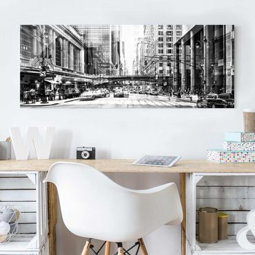 Quadro in vetro - NYC Urban black-white - Panoramico