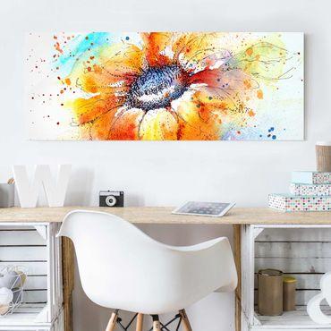 Quadro in vetro - Painted Sunflower - Panoramico