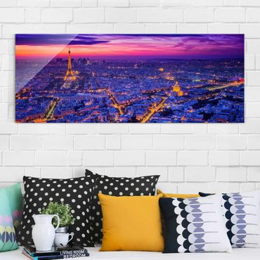 Quadro in vetro - Parigi di notte - Panoramico