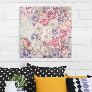 Quadro in vetro - Pastel Paper Art roses - Quadrato 1:1