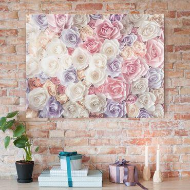 Quadro in vetro - Pastel Paper Art Roses - Orizzontale 4:3
