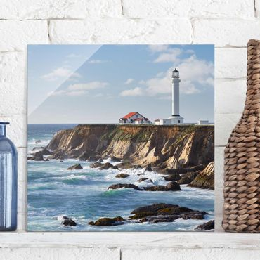Quadro in vetro - Point Arena Lighthouse California - Quadrato 1:1