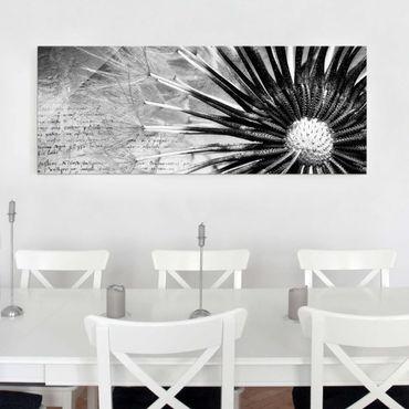 Quadro in vetro - Dandelion Black & White - Panoramico