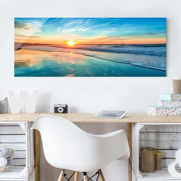 Quadro in vetro - Romantic Sunset By The Sea - Panoramico