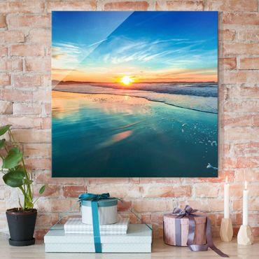 Quadro in vetro - Romantic Sunset By The Sea - Quadrato 1:1