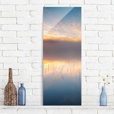 Quadro in vetro - Alba Lago svedese - Pannello