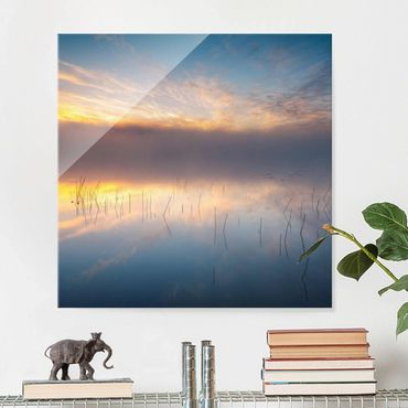 Quadro in vetro - Alba Lago svedese - Quadrato 1:1