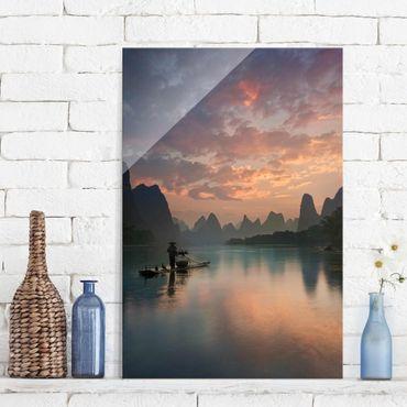 Quadro in vetro - Alba sul fiume cinese - Verticale 2:3