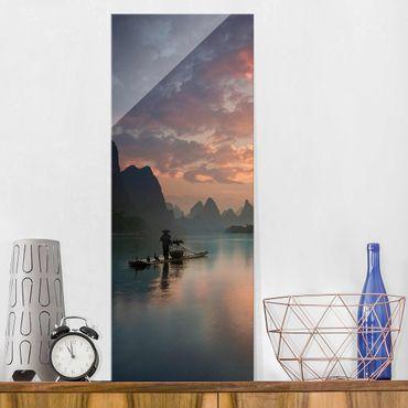 Quadro in vetro - Alba sul fiume cinese - Pannello