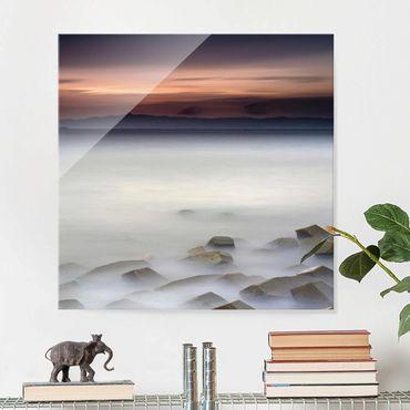 Quadro in vetro - Tramonto Nella Nebbia - Quadrato 1:1