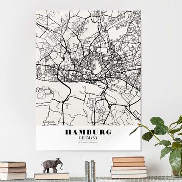 Quadro in vetro - Hamburg City Map - Classic - Verticale 3:4