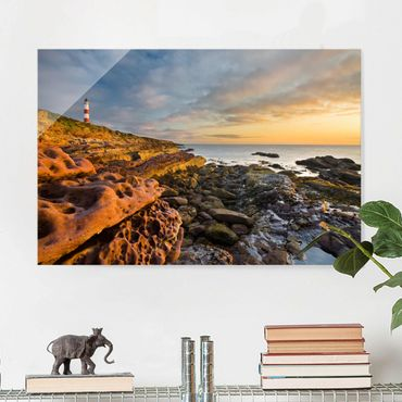 Quadro in vetro - Tarbat Ness Lighthouse and sunset at sea - Orizzontale 3:2