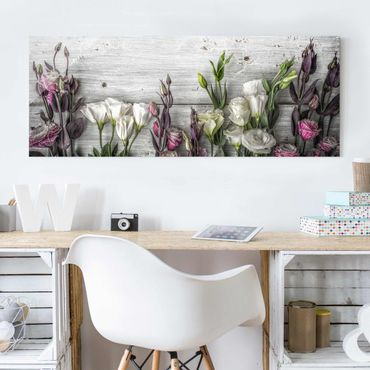 Quadro in vetro - Tulip Pink Shabby wood optic - Panoramico