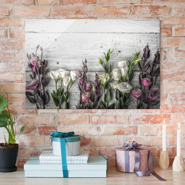 Quadro in vetro - Tulip Pink Shabby wood optic - Orizzontale 3:2