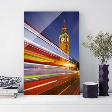 Quadro in vetro - Traffic in London at the Big Ben at night - Verticale 2:3