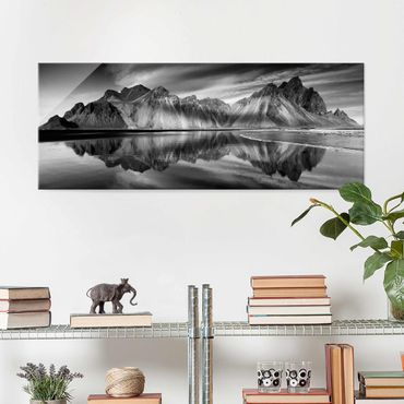 Quadro in vetro - Vesturhorn In Islanda - Panoramico