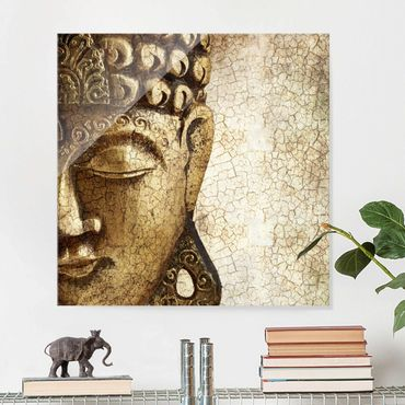 Quadro in vetro - Vintage Buddha - Quadrato 1:1