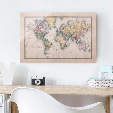 Quadro in vetro - Vintage World Map around 1850 - Orizzontale 3:2