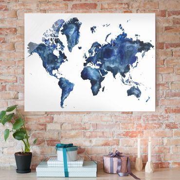 Quadro in vetro - Water World Map Luce - Large 3:4