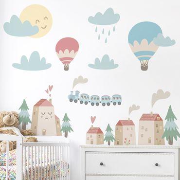 Adesivo murale bambini - Casette e trenini - Stickers camerette