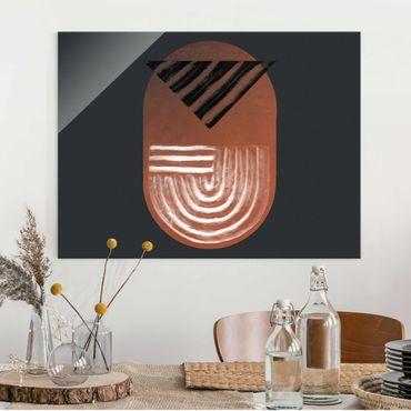 Quadro in vetro - Geometria di argilla indigena su grigio scuro