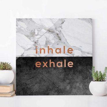 Quadro in vetro - Inhale Exhale in rame e marmo