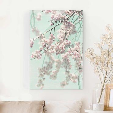 Quadro in vetro - Danza di fiori di ciliegio su struttura di lino