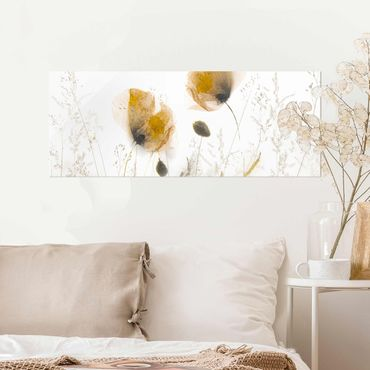 Quadro in vetro - Papaveri e erbe delicate nella morbida nebbia