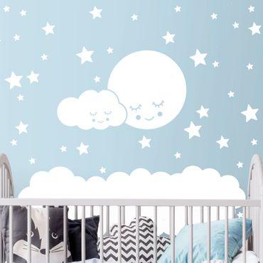 Adesivo murale - Luna nuvole e le stelle