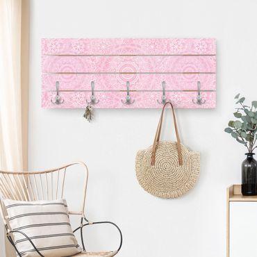 Appendiabiti in legno - Mandala modello rosa - Ganci cromati - Verticale