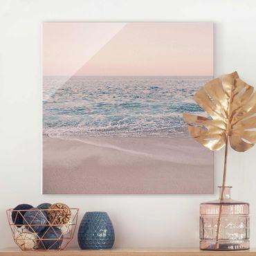 Quadro in vetro - Spiaggia oro rosa la mattina