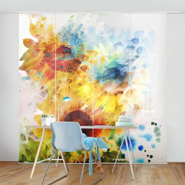 Tende scorrevoli set - Watercolour Sunflowers