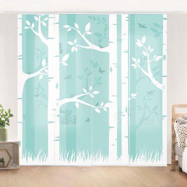 Tende scorrevoli set - Green Birch Forest With Butterflies And Birds