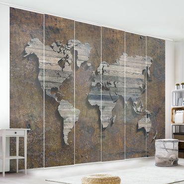 Tende scorrevoli set - Wooden Grid World Map