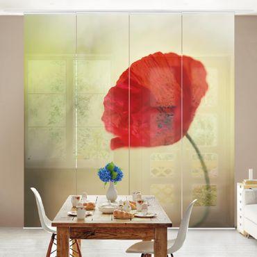 Tende scorrevoli set - Poppy Blossom In The Garden