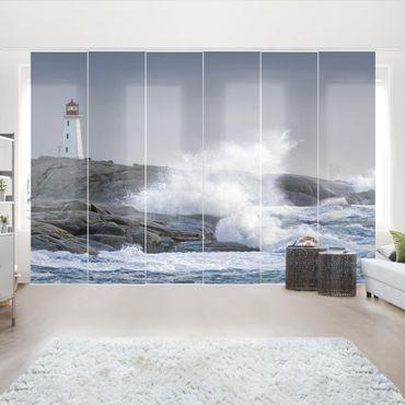 Tende scorrevoli set - Storm Waves At The Lighthouse