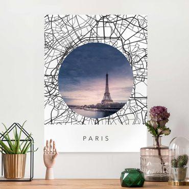 Quadro in vetro - Collage mappa di Parigi