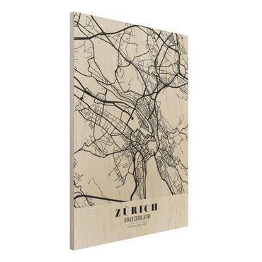 Quadro in legno - Zurich City Map - Classic- Verticale 3:4