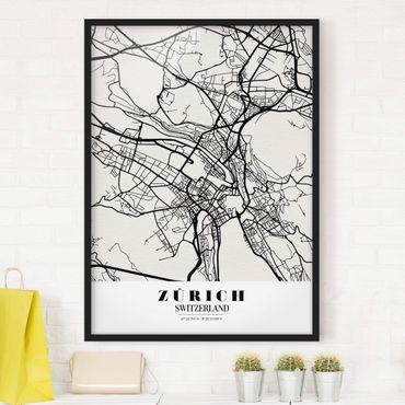 Poster con cornice - Zurich City Map - Classic - Verticale 4:3